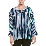 NIC+ZOE Womens Sea Stripe Top Long Sleeve Blouse - Blue