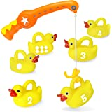 Kidzlane Bath Toys Fishing Game - 1 Toy Fishing Pole and 6 Rubber Duckies - Teaches Numbers & Shapes - Mold-Proof Design with