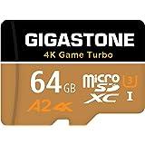 【5年データ回復保証】【Nintendo Switch対応】Gigastone 64GB マイクロSDカード A2 4K Game Turbo 最大読み書きスピード 95/35 MB/s Ultra HD 4K撮影 micro sd カード UHS-