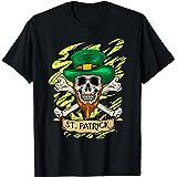 アイリッシュスカル - セントパトリックパイレーツ - 骨付きシャムロックスカル Tシャツ
