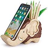 Coolbros ペン鉛筆ホルダー 電話スタンド付き 樹脂型 ペンコンテナ 携帯電話スタンド 彫刻ブラシ はさみホルダー デスクオーガナイザー オフィスデスク ホーム装飾 (象)