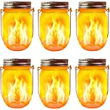 Solar Flame Torch Lights, 6 Pack Waterproof Dancing Flicker Flame Lights Build-in Glass Mason Jar, Outdoor Patio Yard Desktop