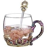 Tea Mug Drinking Mug 11oz, Hand Blown Crystal Glass Coffee Cup Made of Lead-Free Glass and Enamels