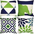 WEYON Indoor Outdoor Pillow Covers 18 x 18 Inch All Weather Decorative Throw Pillow Cover Cushion Case Set of 4 (Navy Pear Gr