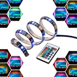 LED Light Strip Bar USB 2M 12V Bias Backlight RGB Light with Remote Control IP65 Waterproof, 50cm*4 Strips for TV Screen Lapt