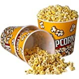 """[Novelty Place] Retro Style Plastic Popcorn Containers for Movie Night - 7.25"""" Tall x 7.25"""" Top Diameter (3 Pack)"""