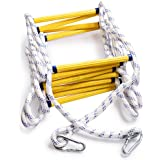 Aoneky Fire Escape Rope Ladder - Flame Resistant Emergency Fire Safety Evacuation Ladder with Hook Carabins for Kids and Adul