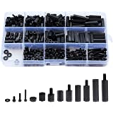 Litorange 320PCS M3 Male Female Nylon Hex Spacer Standoff Screw Nut Assorted Assortment Kit (Black), 320PCS M3, 320