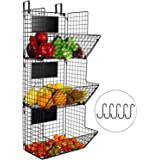 YUKOOL 3-Tier Metal Wall-Mounted Wire Baskets with Hanging Hook and Chalkboards, to Put Fruits, Vegetables, Snacks or Product