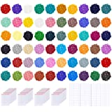 PP OPOUNT 60 Colors Diamond Painting Replacement Round Diamonds with 80 Pieces Self-Seal Bags, 3 Sheets 120 Tags Label Paper