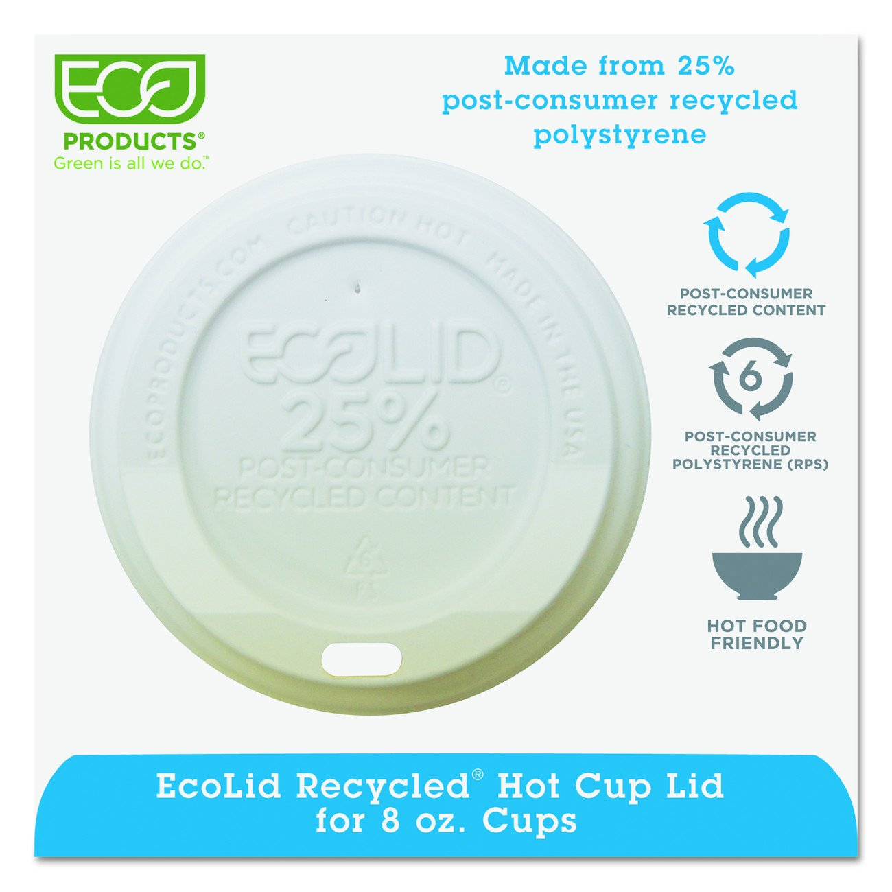 EP-HL8-WR Eco-Lid 25 Percent Recycled Content Hot Cup Lid, Fits 8 oz Cups, 1000-Carton