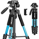 BONFOTO Q111 Camera Tripod 55-inch Compact Lightweight Travel Tripod for YouTube Phone Live Broadcast Live Chat Projector Gop