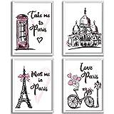 4 Pieces Paris Wall Art Prints, Pink Eiffel Tower Telephone Booth Romantic Paris Theme Room Unframed Art Poster Decor for Gir