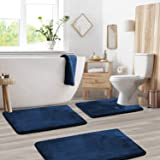 Memory Foam Bathrug Set - Royal Blue Bath Mat and Shower Rug Large 20 x 32 Small 17 x 24 Contour 24 x 19 Non Slip Latex Free