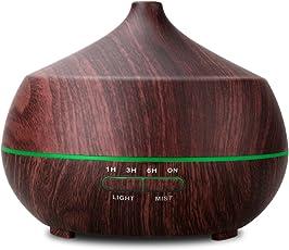 Tenswallアロマディフューザー 超音波式 空気清浄機 卓上加湿器 ムードランプ 空焚き防止機能搭載 時間設定 部屋 会社 ヨガなど各場所用 400ml(木目調) ダークブラウン