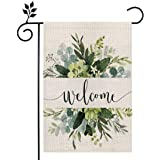 CROWNED BEAUTY Spring Floral Welcome Garden Flag 12×18 Inch Small Vertical Double Sided Seasonal Outside Décor for Yard Farmh
