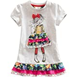 JUXINSU Girl Short Sleeve Dress Summer Wear Cotton Owl Cartoon Embroidery SH6252
