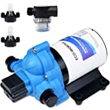 DC HOUSE 33-Series Water Pressure Diaphragm Pump, Self Priming Pump w/Variable Flow For Reduced Cycling - 12V, 3.0GPM, 45PSI