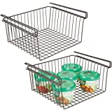 mDesign Household Metal Under Shelf Hanging Storage Organizer Bin Basket for Organizing Kitchen Pantry, Cabinets, Cupboards,