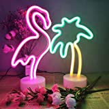 2 Packs Decoration Neon Signs Light Pink Flamingo and Green Palm Tree Neon Wall Decor Lights USB/Battery Powered Neon Lights