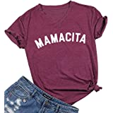 BANGELY Mamacita Mom V-Neck Cute T Shirt Letter Graphic Print Tees Casual Blessed Mama Tshirt Tops