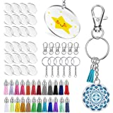Keyzone 96 Pieces Acrylic Transparent Circle Discs, 2 Inch Diameter Round Clear Acrylic Keychain Blanks and Tassel Pendant 96