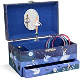 Jewelkeeper Girl's Ballerina Musical Jewelry Storage Box with Pullout Drawer, Glitter Design, Swan Lake Tune