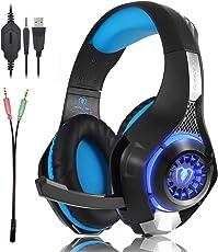 Beexcellent PC ゲーミングヘッドセット 有線 3.5mm ステレオ 騒音隔離伸縮可能マイク付 軽量 ブルー