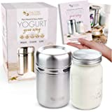 Stainless Steel Yogurt Maker with 1 Quart Glass Jar and Complete Recipe Book to Make 12+ Easy Homemade Dairy Free and Milk Yo