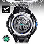 10 ATM Digital Submersible Diving Watch 100m Water Resistant Swimming Sport Wristwatch Luminous LCD Screen with Stopwatch...