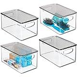 mDesign Plastic Bathroom Storage Bin with Handles, Lid - Holds Soap, Body Wash, Shampoo, Lotion, Conditioner, Hand Towels, Ha