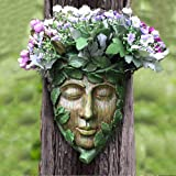 Claratut Hand-Painted ResinGreen Man Tree Face Or Tree Hugger Sculpture Can Be Used As A Flower Pot for Outdoor Tree Decorat