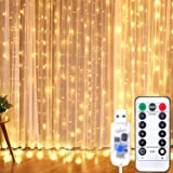 Curtian String Lights, HWZX 300 LED Window Curtain String Light with Remote Control Timer for Christmas Wedding Party Home Ga