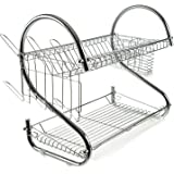2 tier Dish Drying Rack, Large Dish Racks with Drain Board Utensil Holder Stainless Steel Generic Plate Dishes Drainer for Ki