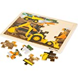 Melissa & Doug 9064 Construction Vehicles Wooden Jigsaw Puzzle with Storage Tray (24 pcs)