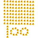 SOHAPY 100Pcs Mini Yellow Rubber Ducks Baby Shower Rubber Ducks, Squeak Fun Baby Yellow Rubber Bath Toy Float Fun Decorations