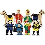 Melissa & Doug Castle Poseable Wooden Doll Set (8 pcs) for Castle and Dollhouse (8-10 cm Each)