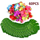 60Pcs Tropical Party Decorations Supplies Tropical Palm Leaves Hibiscus Flowers Simulation Artificial Leaf for Hawaiian Luau