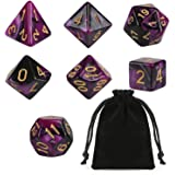 GWHOLE 7 PCS Polyhedral Dice Set Dungeons and Dragons Table Game Dice for D&D, DND, GRP with Black Pouch, Purple & Black