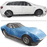 Bestauto Clear Plastic Car Cover 10pcs Disposable Car Covers, 22' x 12' Universal Plastic Car Cover, Waterproof Dust-Proof Fu