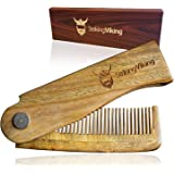 Folding Wood Comb by Striking Viking - Anti-Static Wooden Styling Comb for Men