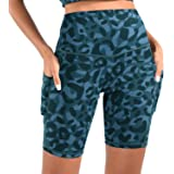 JNVNI Women's High Waist Yoga Shorts with Pockets Workout Running Compression Athletic Tummy Control Short