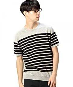 Short Sleeve Fine Gauge Stripe Crewneck Sweater 1218-105-0172: Grey