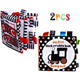 Black and White Books for Newborn 0-6 Months Tummy Time, 2 High Contrast Stroller/ Gym/ Crib Toys Touch and Fell Soft, Baby C