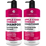BELLISSO Apple Cider Vinegar Shampoo and Conditioner Set - Sulfate and Paraben Free Anti Dandruff Soothing Scalp Treatment wi