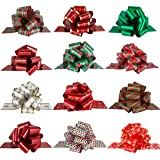 PintreeLand Christmas Pull Bows Large Gift Bows Ribbon 40mm 12PCS for Xmas Present Gift Wrapping, Christmas Decorations, Flor