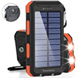Solar Charger Solar Power Bank 20000mAh Waterproof Portable External Backup Outdoor Cell Phone Battery Charger with Dual LED