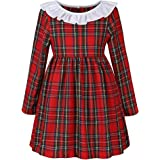 Girls' Red Plaid Dress Long Sleeve Christmas Dress Cotton Casual Dress for Baby Girl