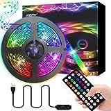 音楽LEDテープライト 2M 両面テープ SMD5050 防水防塵 LEDテープ RGBテープ 正面発光 高輝度 切断可…