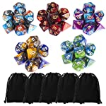 35 Pieces Polyhedral Dice, Double-Colors Polyhedral Game Dice with 5 Pack Black Pouches for RPG Dungeons and Dragons...
